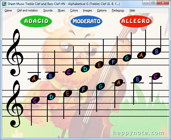 Click to view Sheet Music Treble Clef and Bass Clef HN 4.00 screenshot